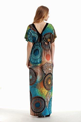 Grandes Mangas Anchas Dresses Patrón Moda Murciélago Mujer Cuello Azul Largos Vestidos V De Verano Playa Señoras Dress Casuales Vestido Print Fiesta Tallas Elegante Cq7wTt
