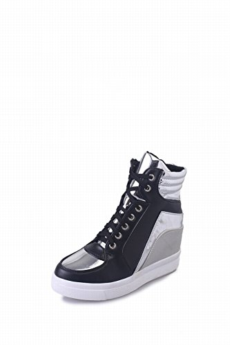 Warm and Increased Massage Deodorant Shock Absorption Breathable Wear-Resistant Women's Shoes Pure Color Lace Casual Shoes Increase in Small White Shoes High Street Shoes , black , EUR36.5