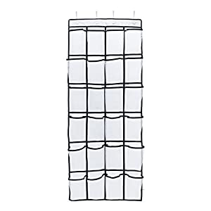 Door Organizer from Unjumbly, 24 Pocket Shoe Hanger with Clear Mesh Pockets, Complete with 4 Reversible Over the Door Hooks, White