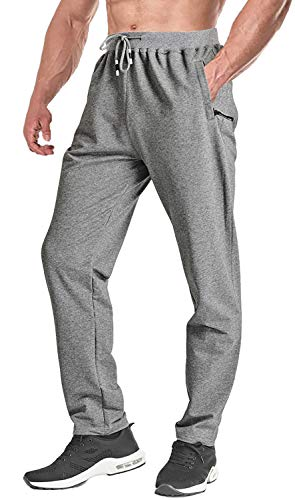 FASKUNOIE Men's Running Pants Slim Fit Jogging Walking Trousers Comfortable with Pockets Deep Gray