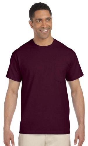 (Gildan Ultra Cotton 6 oz. Pocket T-Shirt, 2XL, MAROON)