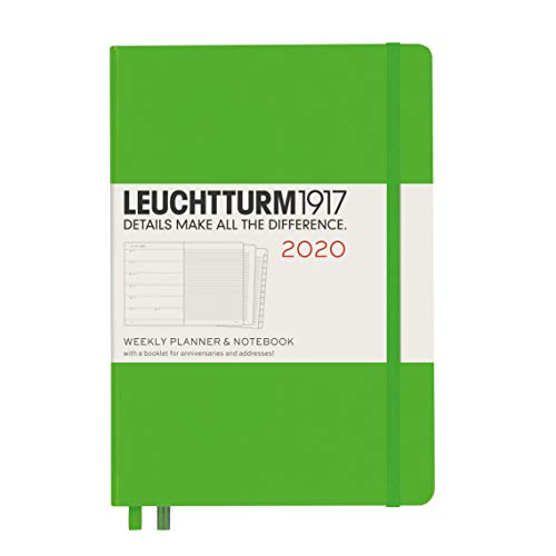Leuchtturm1917 Fresh Green, Weekly Planner and Notebook Med (A5) 2020 with extra booklet for anniversaries and addresses