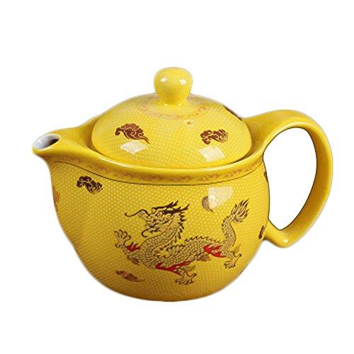 Old fashion Ceramic Creative Tea Kettle dragon yellow Tea po