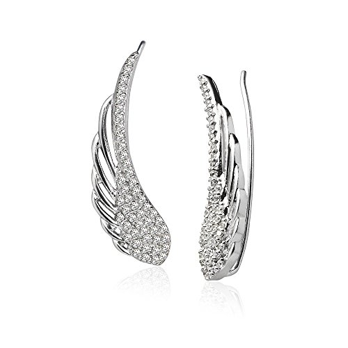 LOVVE Sterling Silver Cubic Zirconia Angel Wings Ear Cuff Crawler Climber Hook Earrings (Display Angel Earring)