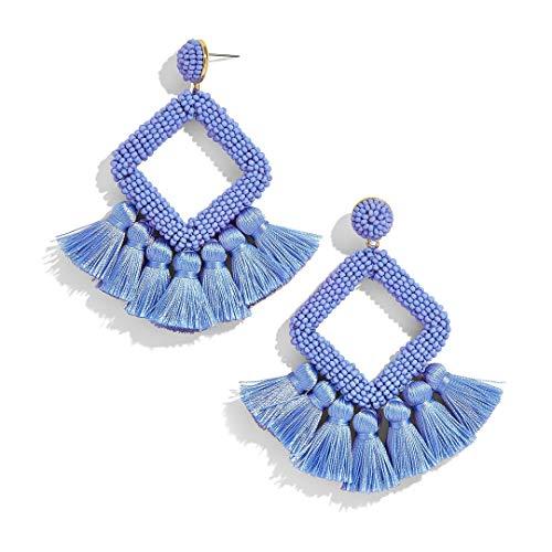 Tassel Statement Earrings Bohemian Bead Handmade Drop Dangle Earrings for Women Girls (S-blue)