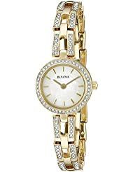 Bulova Women's 98L213 Crystal Analog Display Quartz Gold Watch