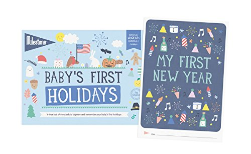 Milestone - Baby's First Holidays Photo Card Booklet - Tear Out Booklet of 6 Photo Cards to Capture Your Baby's First Memorable Holiday -