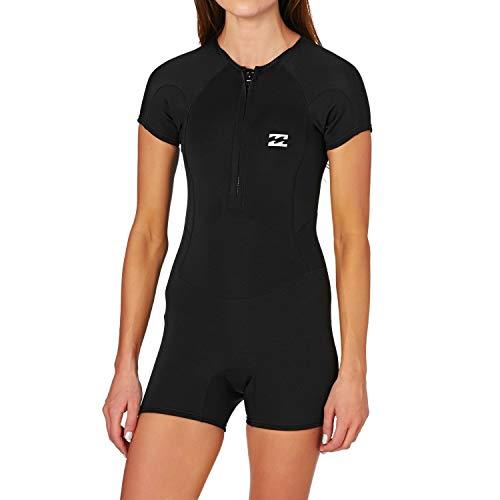 (Billabong 2017 Ladies Synergy 1mm Front Zip Springsuit Shorty Black C41G01 Ladies UK Sizes - 6)