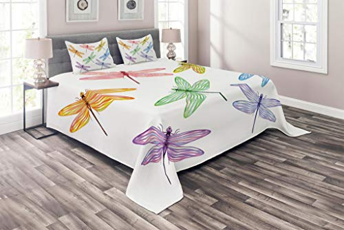 Lunarable Dragonfly Coverlet Set Queen Size, Group of Dragonflies with Colored Patches Elongated Body Winged Animal Design, 3 Piece Decorative Quilted Bedspread Set with 2 Pillow Shams, Multicolor ()