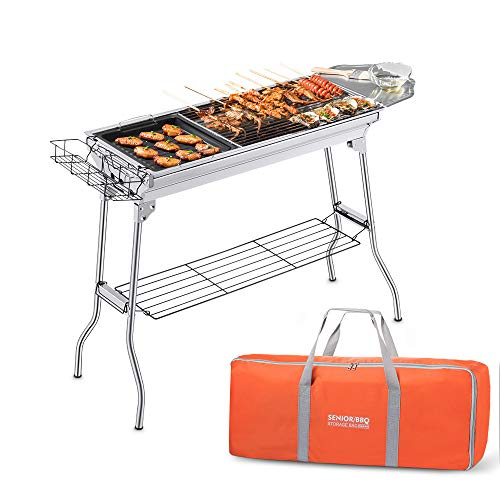 Portable Charcoal Grill, Foldable BBQ Grills Outdoor Cooking Charcoal Barbeque for Picnic, Camping, Patio Backyard Cooking – 39.37x 13.19 x 27.56 inch – with Storage Bag & Non-Stick Frying pan