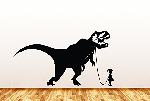 Pet Dinosaur - Tyrannosaurus Rex w Girl - Wall | Window | Door - Vinyl Decal Copyright © Yadda-Yadda Design Co. (37