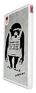 546 - Banksy Grafitti Art Monkey Laugh Now Design For Sony Xperia M4 Fashion Trend CASE Back COVER Plastic&Thin Metal
