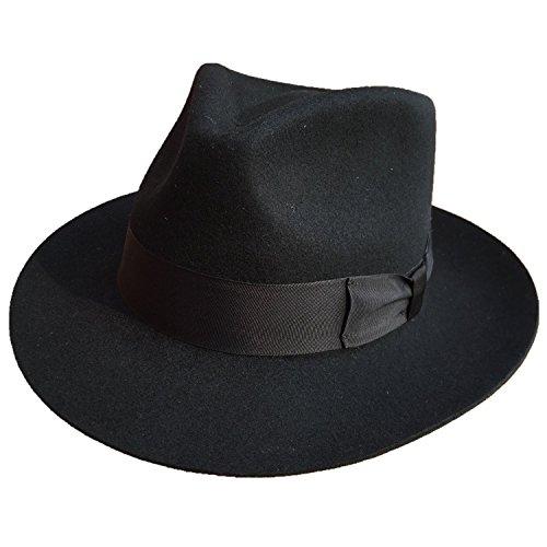 Classic Black Men's Wool Felt Godfather Gangster Mobster Gentleman Fedora Hat (L = 59cm (7 3/8))]()