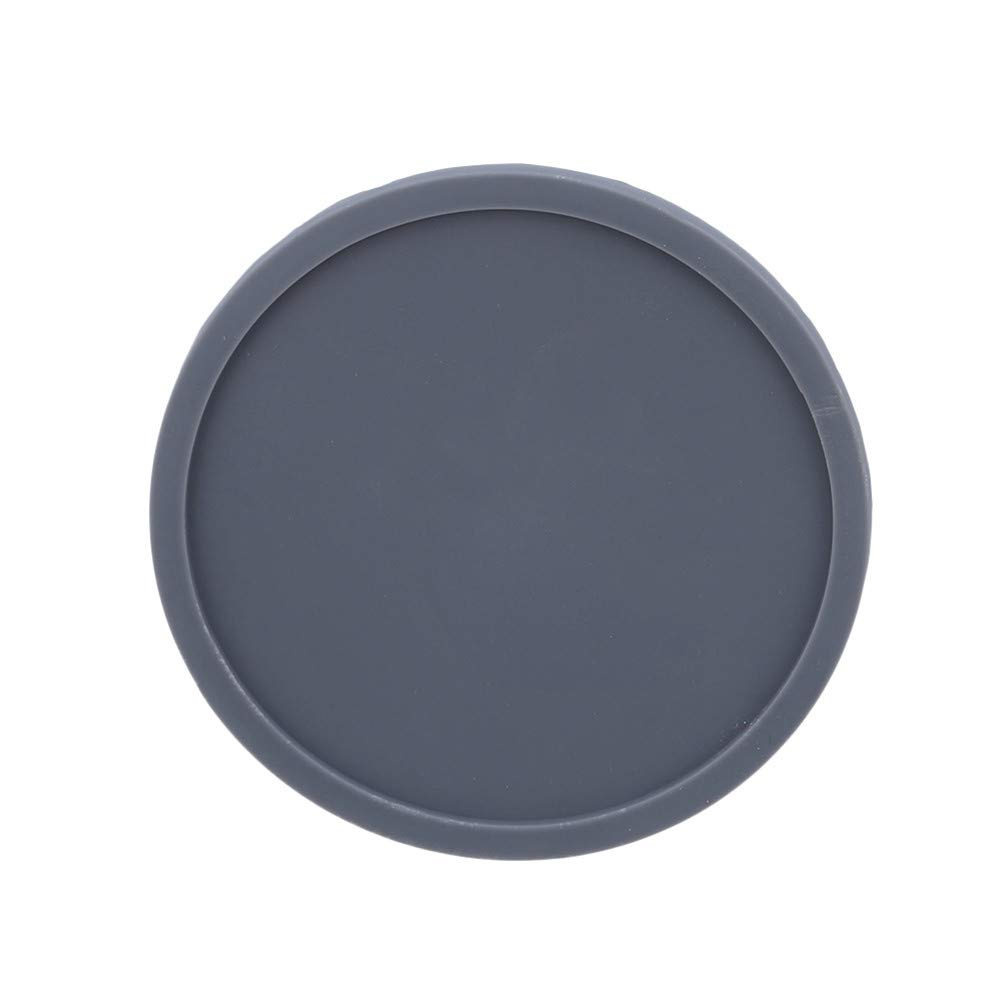 LANWF Round Silicone Coasters Non-Slip Cup Mats Tabletop Protector Any Table Type for Family Table Decoration,Gray