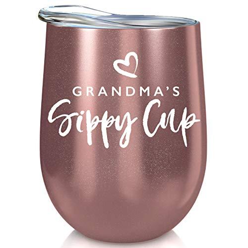 Grandma Gift Insulated Wine Tumbler - 12oz with Steel Straw, BPA Free Lid, Straw Cleaning Brush - Stainless Steel Stemless Wine Tumbler Cup - Funny Gift for Grandmothers - Grandma