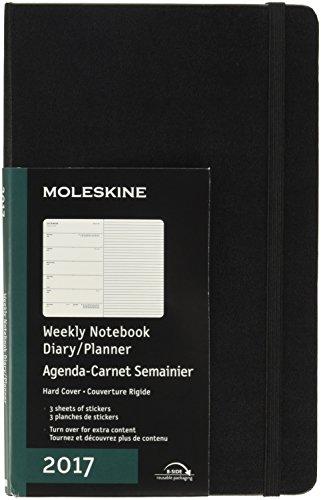 Moleskine 2017 Weekly Notebook, 12M, Large, Black, Hard Cover (5 x 8.25)