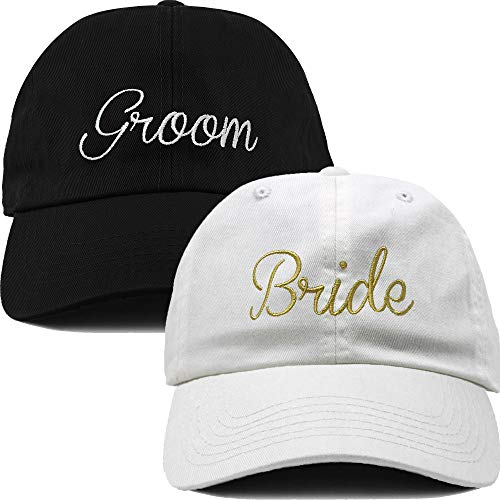 H-214-2-Bride-Groom Dad Hat Unconstructed Low Profile Baseball Cap Bridal Bundle