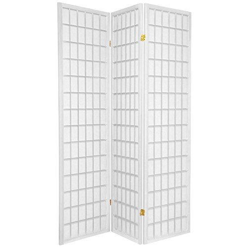 ORIENTAL FURNITURE 6 ft. Tall Window Pane Shoji Screen - White - 3 Panels