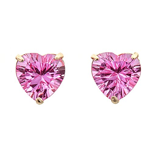 - Lavari - 3 cttw Heart 7MM Pink Sapphire 10K Yellow Gold Stud Earrings