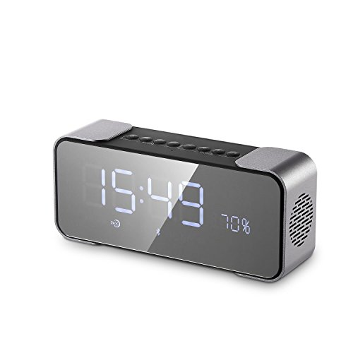 Bedside Bluetooth Speaker Alarm Clock Wireless Stereo Support Micro SD Card, Input/AUX Line-In Loudspeakers Super Bass for iPad iPhone Android Phones