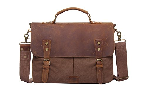 Jair Brown Fashion Style Canvas Leather Laptop Crossbody Messenger Satchel Bag for Men