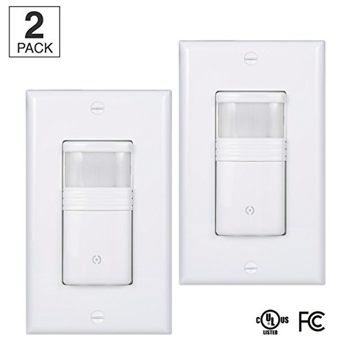 (Pack of 2) White Motion Sensor Light Switch – NEUTRAL Wire Required – For Indoor Use – Vacancy & Occupancy Modes – Title 24, UL Certified – Adjustable Timer (Sensor Light Occupancy)