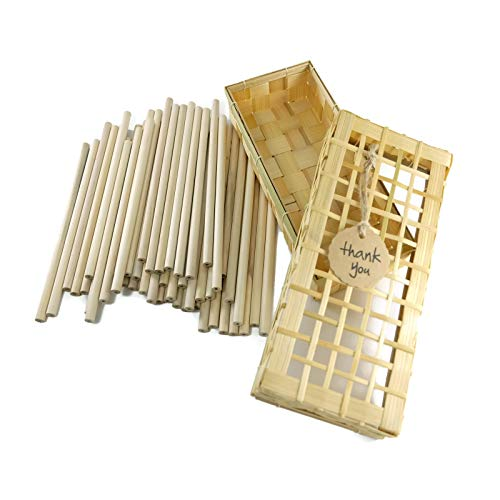Love2Learn Classic Hand Woven Bamboo Pencil Box Set with 50 High-Grade Unsharpened Pencils Pack