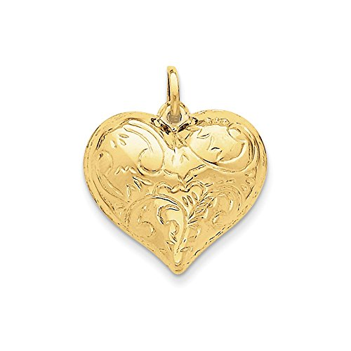 14k Yellow Gold Scrolled Puffed Heart -