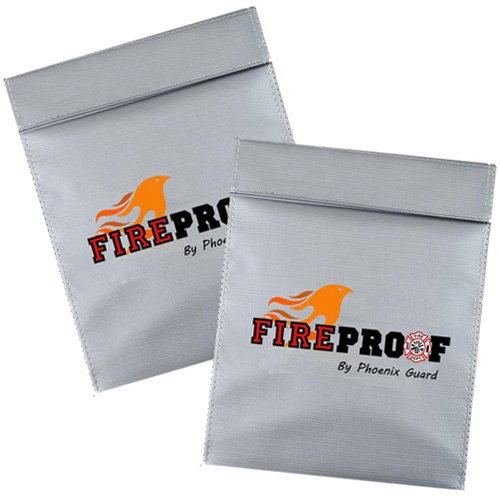 Bundle of TWO FIREPROOF by Phoenix Guard Fire Resistant Pouch | Document Bag for Money, Passports, ID, Marriage, Bank & House Records | Flame Retardant, Waterproof Pouch (TWO-7x9, gray)