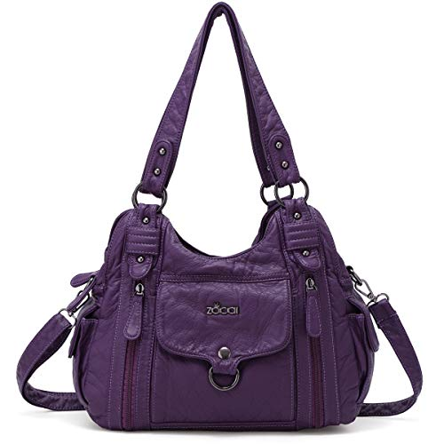- ZOCAI Hobo Shoulder Bag for Women Roomy Handbags Ladies' Street Tote Satchel PU Leather with Multi Pockets (Purple)