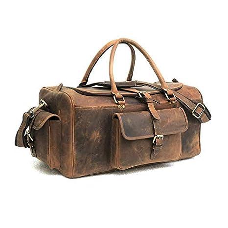 2010845896db Zakara Full Grain Buffalo Genuine Hunter Leather Weekender Travel Duffle Bag