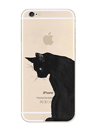 DECO FAIRY Compatible with iPhone X / Xs, Black Sad Upset Meow Kitty Cat Series Transparent Translucent Flexible Silicone Cover Case