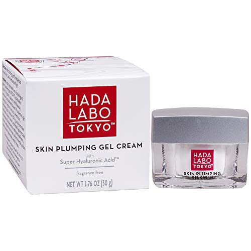 Free Oil Hydrating Fluid - Hada Labo Tokyo Skin Plumping Gel Cream 1.76 FL OZ - with Super Hyaluronic Acid & Collagen - 24 Hour Moisture & Visible Line Plumping fragrance & paraben free non-comedogenic (Packaging May Vary)