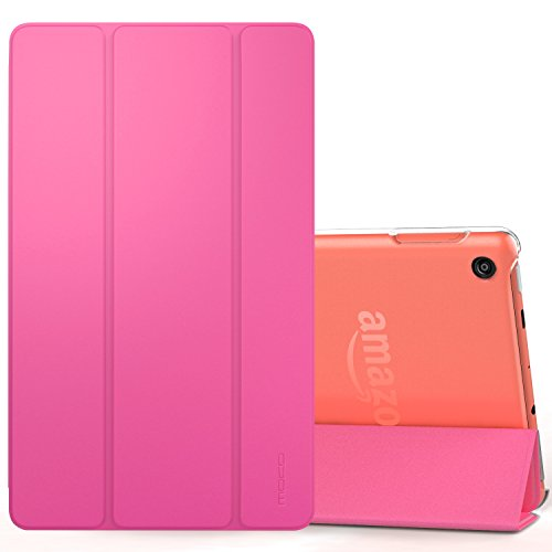 MoKo Case for All-New Amazon Fire 7 Tablet (7th Generation, 2017 Release Only) - Ultra Lightweight Slim Shell Stand Cover with Translucent Frosted Back for Fire 7, Magenta (with Auto Wake/Sleep)