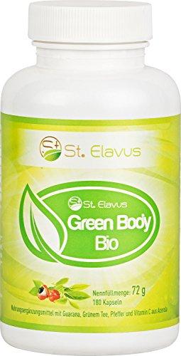 BIO Green Body - 180 Kapseln - hochdosierte Wirkstoffe aus kontrolliert biologischem Anbau - Guarana Extrakt + Grüntee Extrakt + Cayenne-Pfeffer + Schwarzer Pfeffer + Vitamin C aus Acerola, 1er Pack (1 x 72 g)
