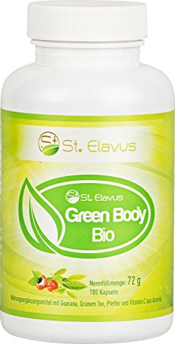 St. Elavus Green Body BIO - Guarana Extrakt + Grüntee Extrakt + Cayenne-Pfeffer + Schwarzer Pfeffer + Vitamin C aus Acerola, 180 Kapseln, 1er Pack (1 x 72 g)