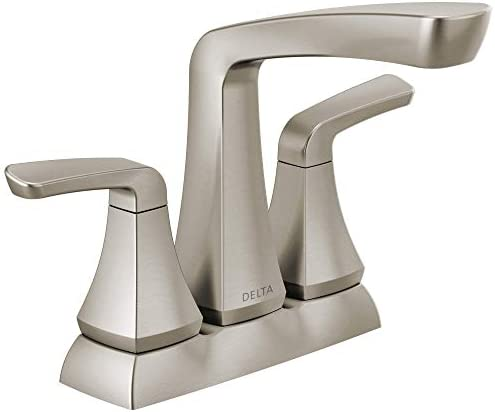 Delta Faucet Vesna Centerset Bathroom Faucet Brushed Nickel, Bathroom Sink Faucet, Drain Assembly, Worry-Free Drain Catch, SpotShield Brushed Nickel 25789LF-SP