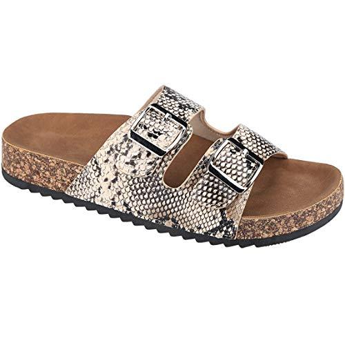 CLOVERLY Comfort Low Easy Slip On Sandal - Casual Cork Footbed Platform Sandal Flat - Trendy Open Toe Slide Sandal Shoes (8.5 M US, Snake)