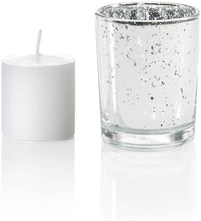Silver Metallic Neo-Image Candlelight Ltd Yummi Set of 36 10 hour Votive Candles /& Metallic Holders