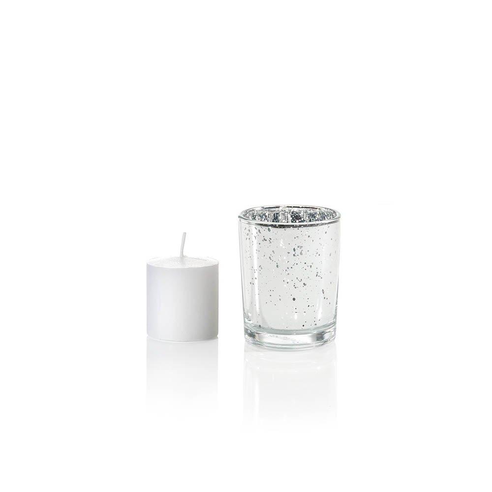 Yummi Set of 36 10 hour Votive Candles /& Metallic Holders Silver Metallic Neo-Image Candlelight Ltd