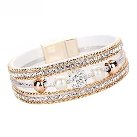 YIWULA Women Multilayer Bangle Bracelet Crystal Beaded Leather Magnetic Wristband (White)