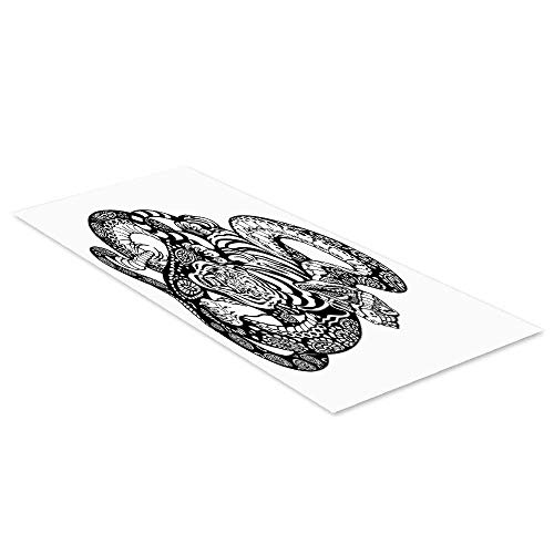 C COABALLA Tiger Waterproof Floor Sticker,Tattoo Style Scene of Two Animals Fighting Long Snake with Sublime Large Cat Battle for Kitchen Living Room,47.2