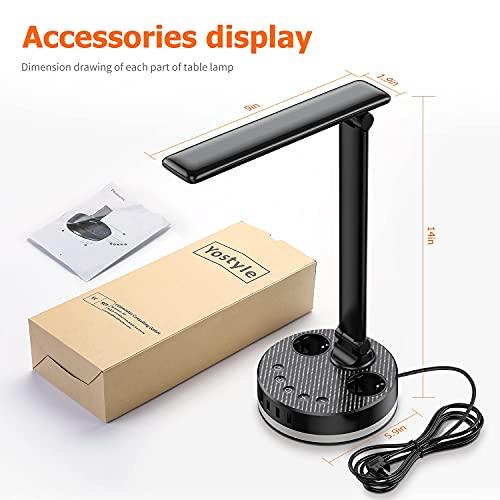 Lámpara Escritorio LED, Flexo de Escritorio, lámpara de mesa con 2 enchufes y 4 puertos USB, control táctil, 4 niveles de brillo, lámpara para el cuidado de los ojos de oficina en casa
