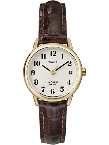 (Timex Women's Easy Reader Watch, Brown Croco Pattern Leather Strap)