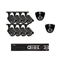 Q-See Surveillance System QTH916-10AI-1 16-Channel HD Analog DVR with 1TB Hard drive, 10-720p Bullet/Dome Security Cameras (Black)