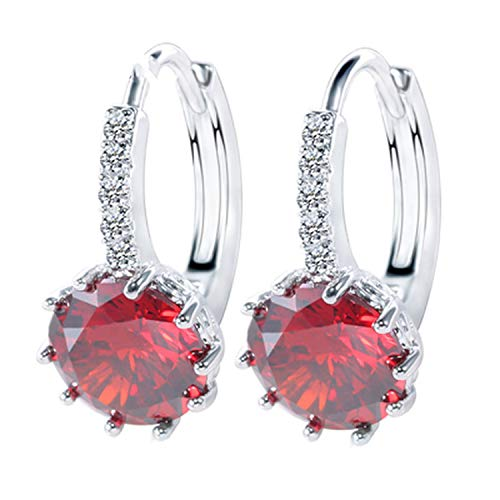 925 Sterling Silver Cubic Zirconia Crystal Classic Round Earrings for Women Wedding