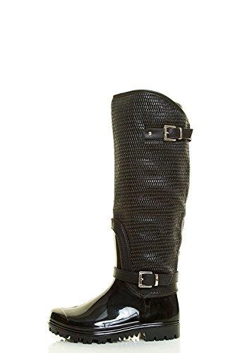 Dev Mujeres Forever Fur Warm Snow Diamante Impermeable Forma Deco Strap Cubierta Punta Redonda Mediados De La Pantorrilla Bota Zapatos Negro Carie-64
