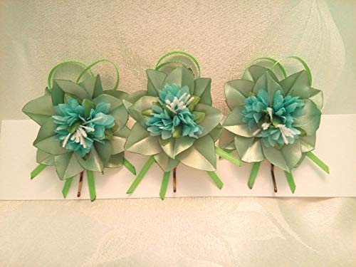 Bobby Pins Hair Green Mint Set of 3 flower Wedding hair flowers by Studio SilkFantazi