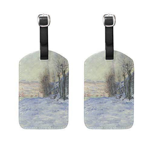 (WIHVE Set of 2 Luggage Tags Claude Monet's Lavacourt Under Snow Suitcase Labels Travel Accessories)