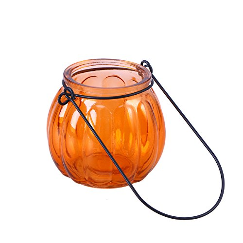 LEDMOMO Hanging Candle Holders, Pumpkin Glass Candle Holders Tealight Candle Holders Home Decoration for Party Wedding Decor (Orange)